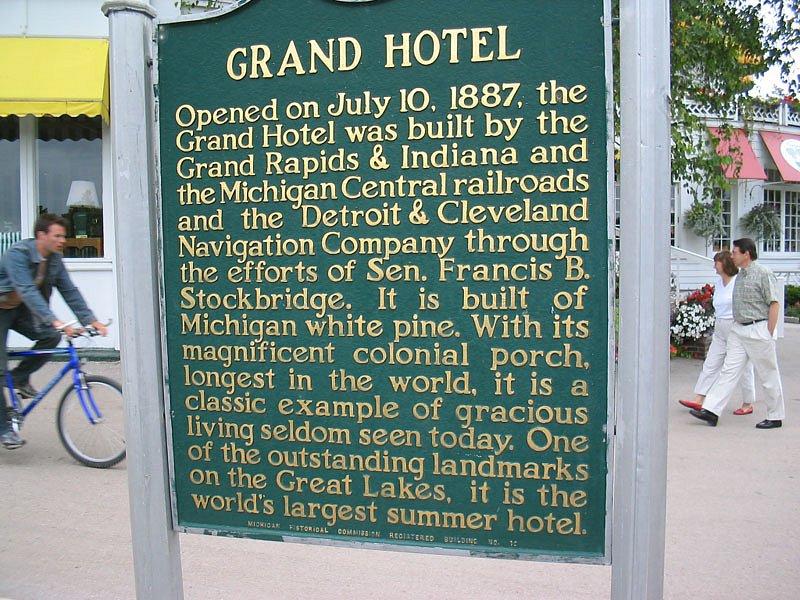 Grand Hotel historic marker